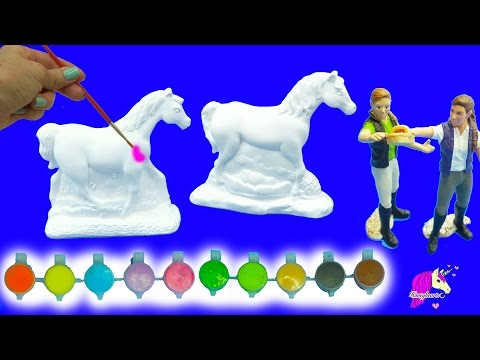 Thumbnail: Painting Plaster Rainbow Fantasy + Appaloosa Horses For 2 Schleich Girls - Craft DIY Video