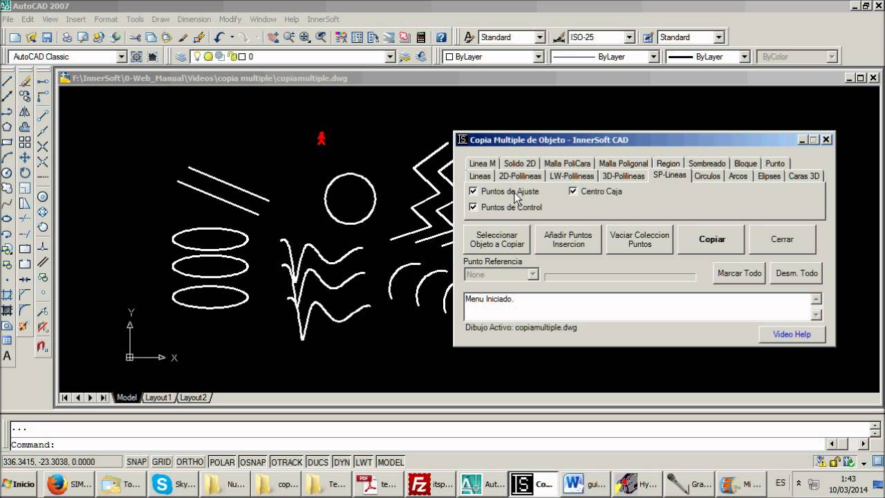 Innersoft cad para autocad copia m ltiple de objeto for Multiples de 6