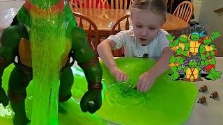 Baby Turtles Get Oozed & Turn Into Teenage Mutant Ninja Turtles - TMNT in Kids Slime