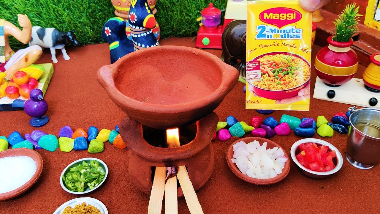 Miniature Maggi Bhel Recipe   Miniature Cooking   Instant Snack Noodles   Mini Food