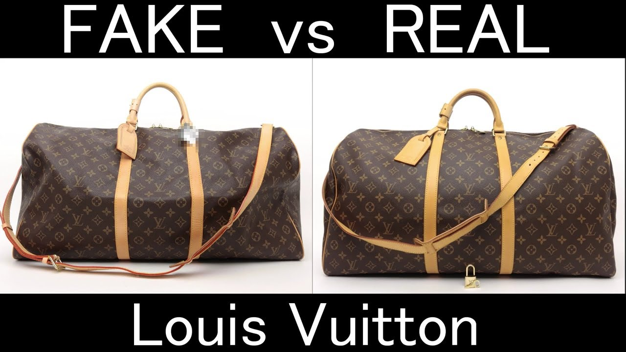 FAKE vs REAL. Louis Vuitton Monogram Keepall bandouliere 60 - YouTube ad665512542f1