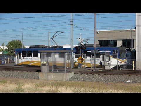 SACRT 122 Light Rail Running In SACRT Yard, Sacramento CA