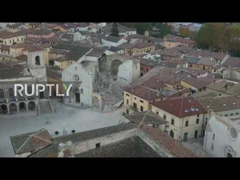 Italy: Drone captures destruction of Norcia Cathedral after 6.6M earthquake