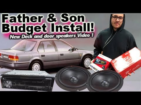 Father & Son Budget Car Stereo Install 1990 Honda Accord - His First Deck & Door Speakers! Video 1