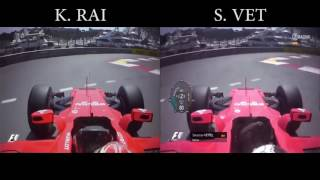 Raikkonen P1 vs Vettel P2 Qualifying Lap Comparison   F1 Monaco 2017
