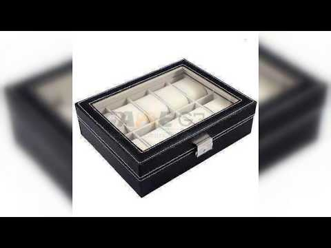 10 Slot Watch Box Leather Display Case Organizer Top Glass Jewelry Storage Black Otenmart