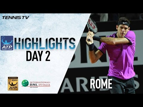 Highlights: Del Potro Berdych Goffin Advance On Monday In Rome 2017