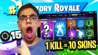 1 KILL = 10 FREE SKINS FOR MY CRAZY COUSIN! LITTLE KID WINS $1,000! (bad idea)