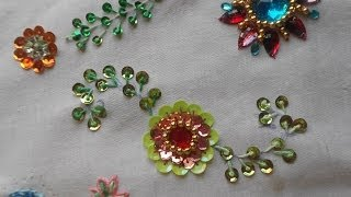 HAND EMBROIDERY :Long Frenchknot / lavangam stitch -how to sequin Tutorial