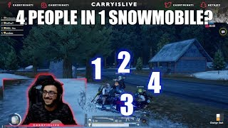 4 PEOPLE IN 1 SNOWMOBILE | PUBG FUNNY TRICKS AND MOMENTS CARRYMINATI