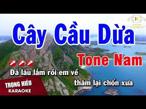Karaoke Cây Cầu Dừa Tone Nam Nhạc Sống | Trọng Hiếu