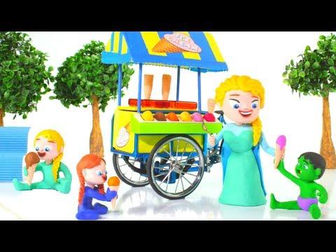 FROZEN ELSA ICE CREAM PARLOR ❤ Spiderman, Hulk & Frozen Elsa PlayDoh Cartoons For Kids