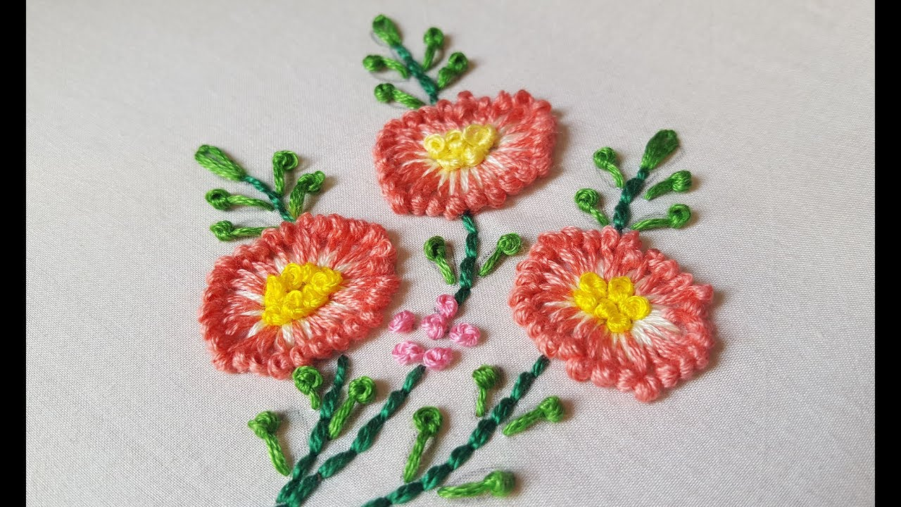 Long French Knot Flower Stitch For Beginnershand Embroidery Youtube