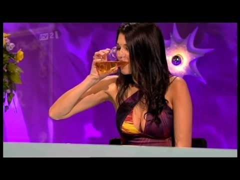 Natalie Anderson Downing A Pint On Celeb Juice