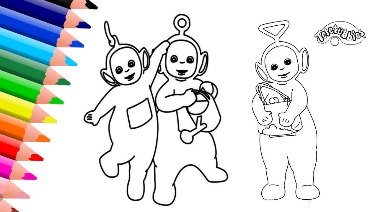 Teletubbies Coloring Page | Tinky Winky, Laa Laa, Po Coloring Book ...