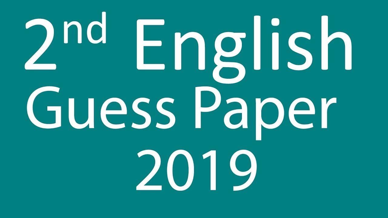2nd Year English guess paper 2019