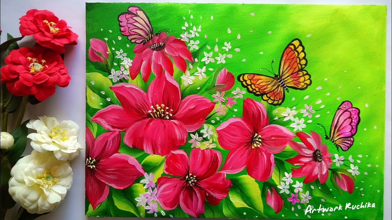 Flowers and Butterflies Painting   Acrylic Painting ...