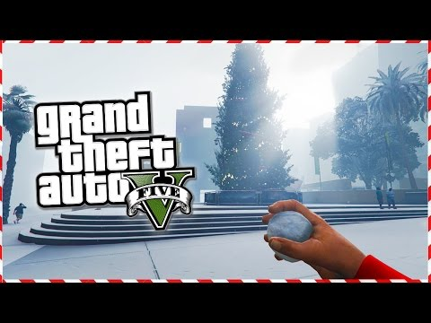 GTA 5 Online - SNOWBALL FIGHT! Next Gen GTA 5 PS4 Snow Gameplay! (GTA 5 Christmas DLC 2014)