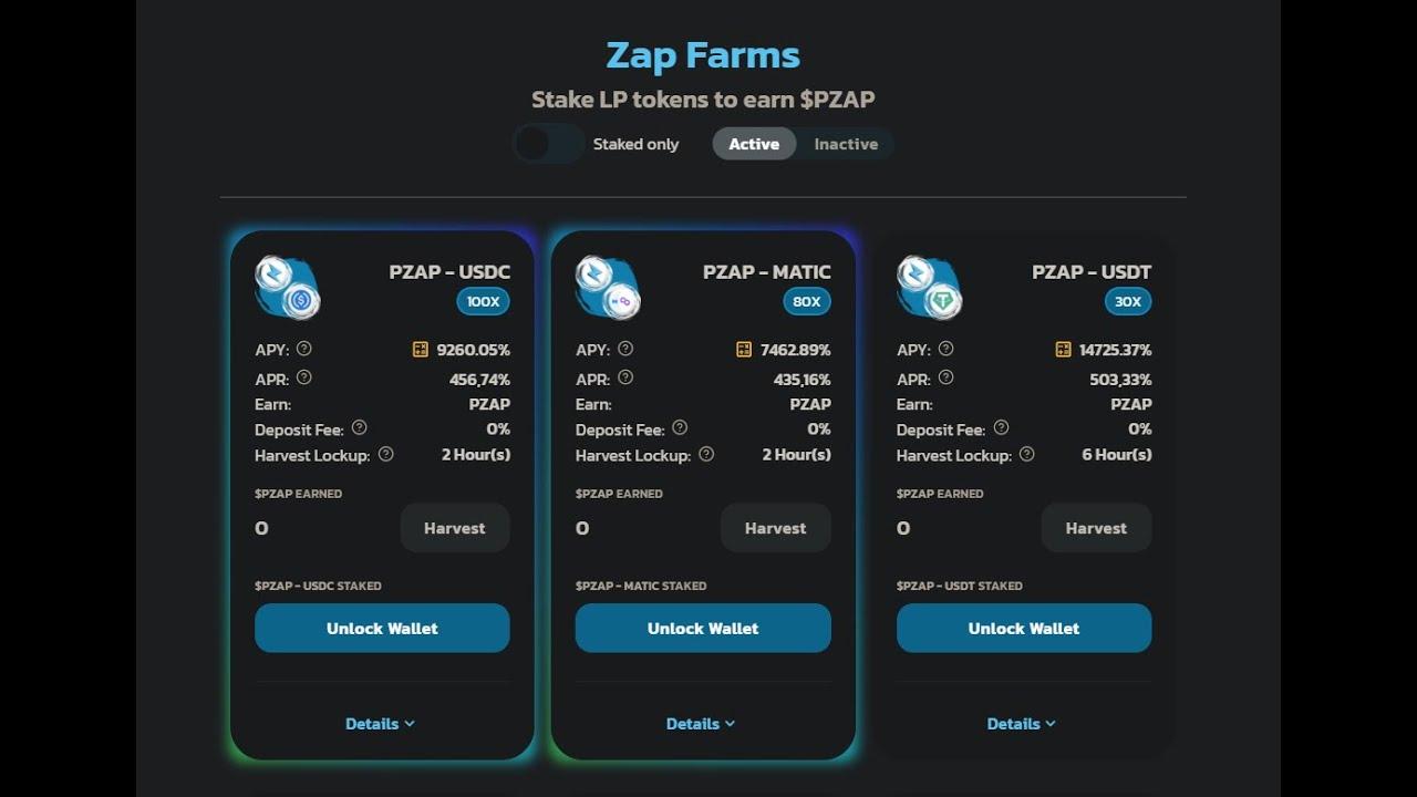 Polyzap Finance Đi Farms APY 10000% PZAP