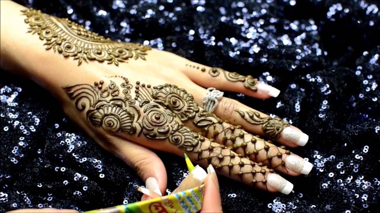 Modern Arabic Mehndi Designs 2014 : Modern arabic mehndi with lace design lal hatheli youtube