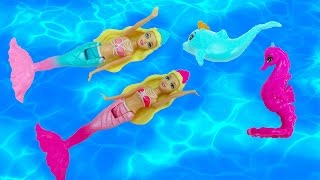 Barbie Mermaid Mini Dolls The Pearl Princess Twin Sisters Playset Water Bath Pool Toys CookieSwirlc