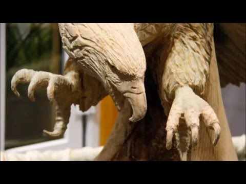 Chainsaw Carved Eagle In V Formation Youtube