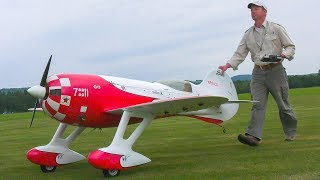 GIANT RC SCALE MODEL GRANVILLE GEE BEE R3 IN DEMO FLIGHT!! * RC RACING AIRPLANE