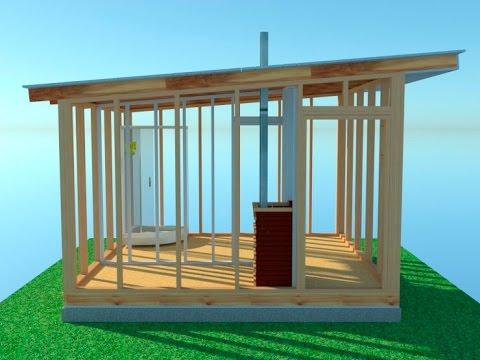 каркасная баня с двускатной крышей, Каркасная баня - Каркасная баня с двускатной крышей - 0