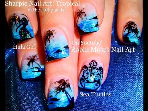 Easy Hot Neon Blue Nails! Tropical Beach Vacation Nail Art Design Tutorial