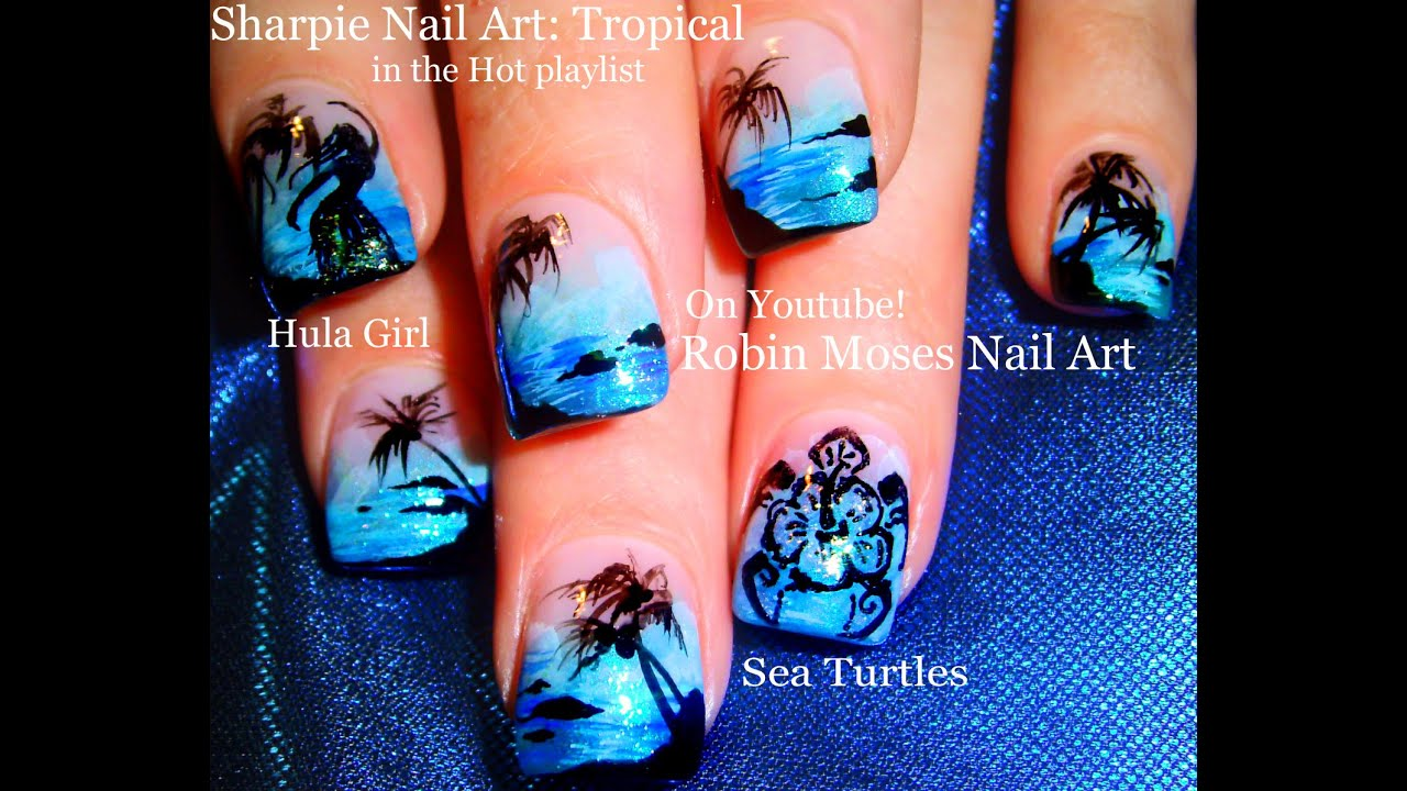 Easy Hot Neon Blue Nails! Tropical Beach Vacation Nail Art Design Tutorial - Easy Hot Neon Blue Nails! Tropical Beach Vacation Nail Art Design