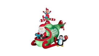 Animated Inflatable Helicopter Santa Decoration