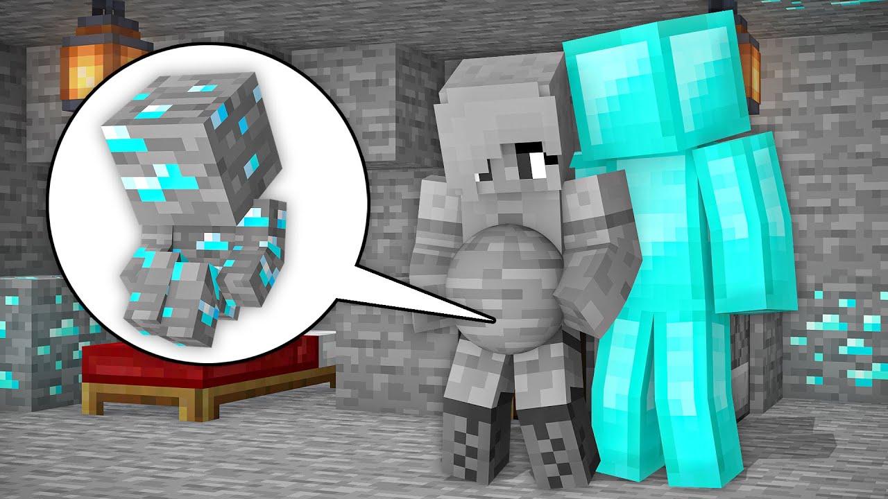 Monster School: How Stone Girl Born Baby Diamond ore! Diamond Man Birth Family - Minecraft Animation