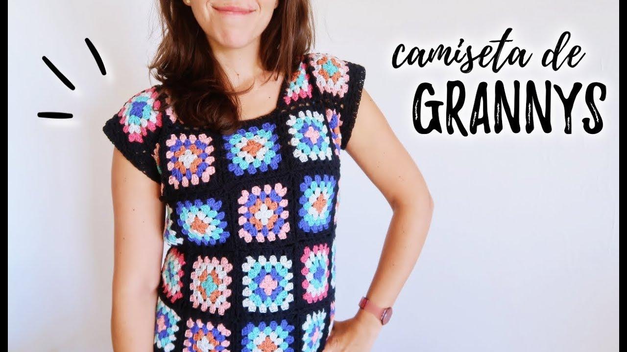 Crochet SquaresTutorial Ahuyama Paso Camiseta Con A Blusa Granny N0n8vmw