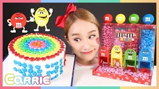 Decorating M&M Cake with M&M chocolate | CarrieAndToys