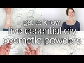 Cosmetic Powders: Titanium Dioxide, Zinc Oxide, Sericite Mica, Kaolin Clay, and Starch
