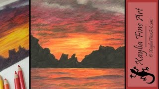 Tutorial: how to draw a sunset in coloured pencils