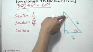 Valores para las funciones trigonométricas de 30, 45 y 60 grados