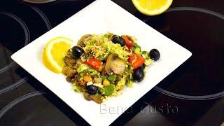 Постный салат с нутом и овощами