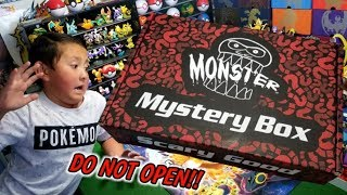SUPER SCARY OPENING!!! DONT OPEN THE MONSTER MYSTERY BOX! SCARY GOOD STUFF INSIDE!!
