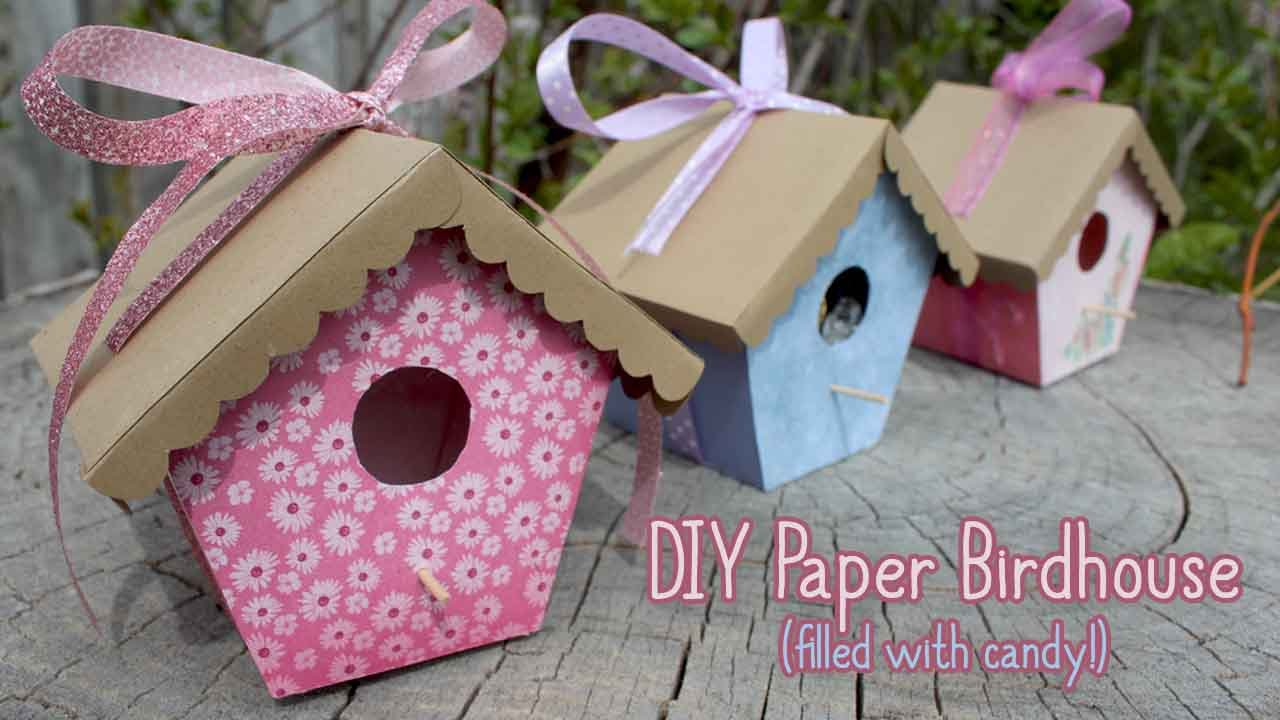 How To Make A Paper Birdhouse Diy Gift Box Mother S Day Crafts
