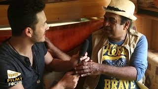 akhil akkineni funny interviewing brahmanandam comedy legend in akil movie set