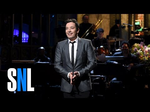Host Jimmy Fallon celebrates his return to 'Saturday Night Live' and the show first live coast-to-coast broadcast.