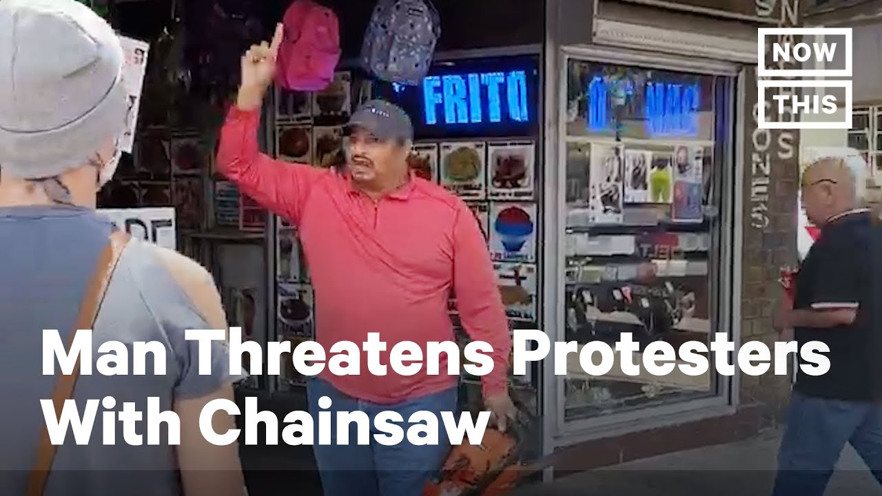 Devil Mexican  Threatens Protesters with Chainsaw and hurls Racist insults