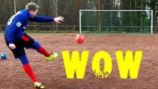 awesome curve free kick   bend it like beckham   test mit neuen adidas predator x
