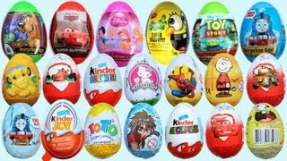 Repeat youtube video 20 Surprise Eggs, Kinder Surprise Cars 2 Thomas Spongebob Disney Pixar