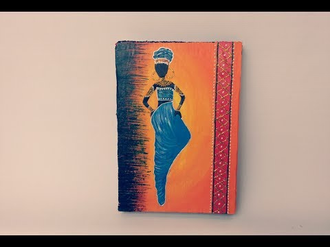 Beautiful African woman painting