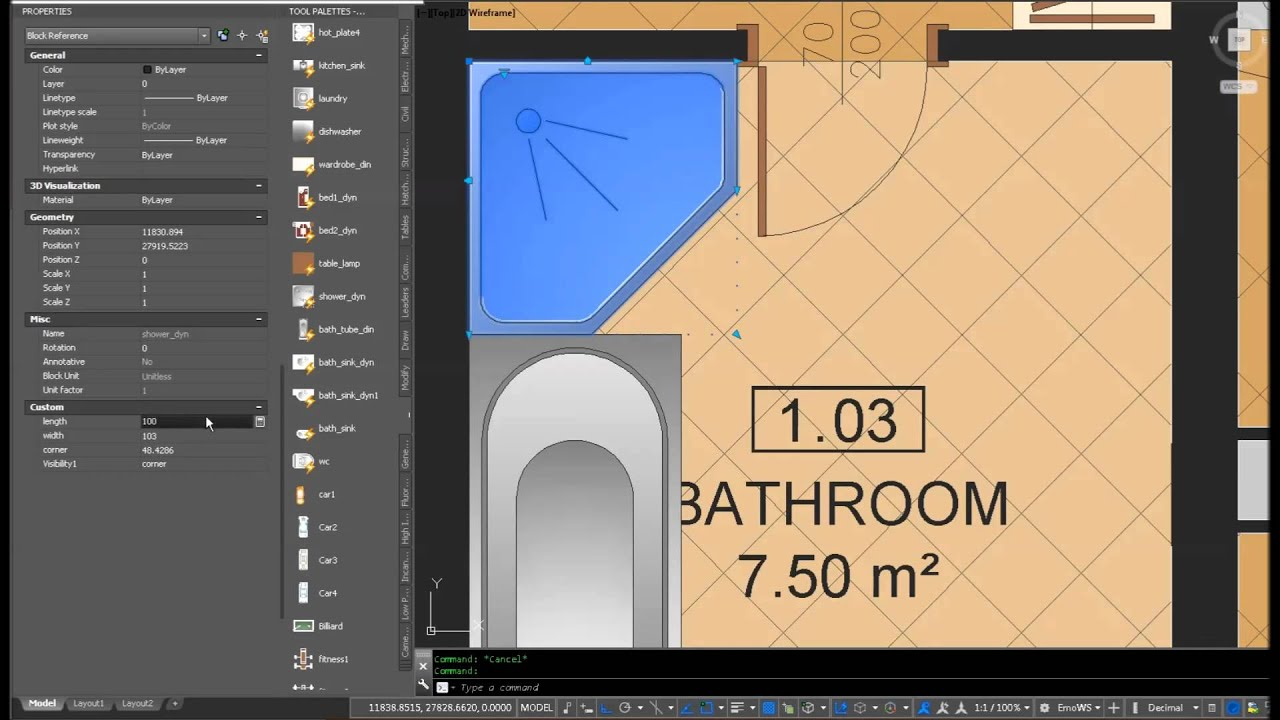 AutoFurniture for AutoCAD - Bathroom Examples by AUTO ROOM LABEL