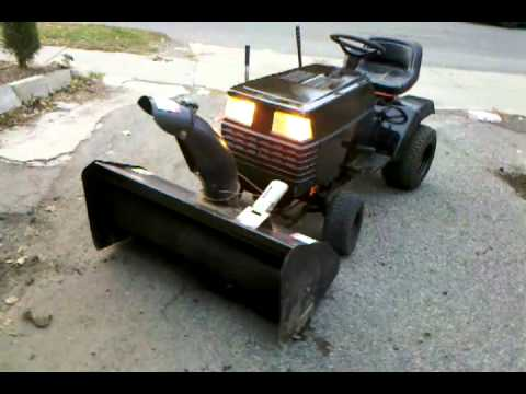 Craftsman lawn tractor with Snowblower attachment running YouTube