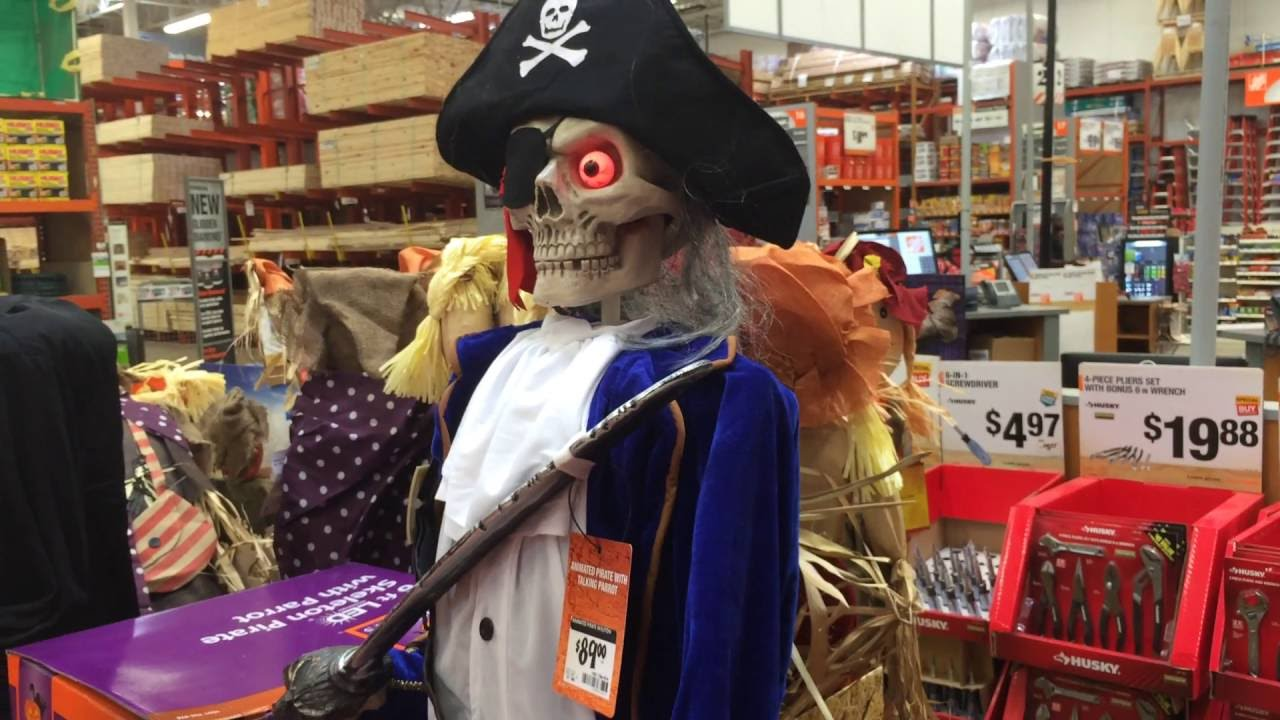 Home Depot Halloween 2016 6ft LED Skeleton Pirate with ...