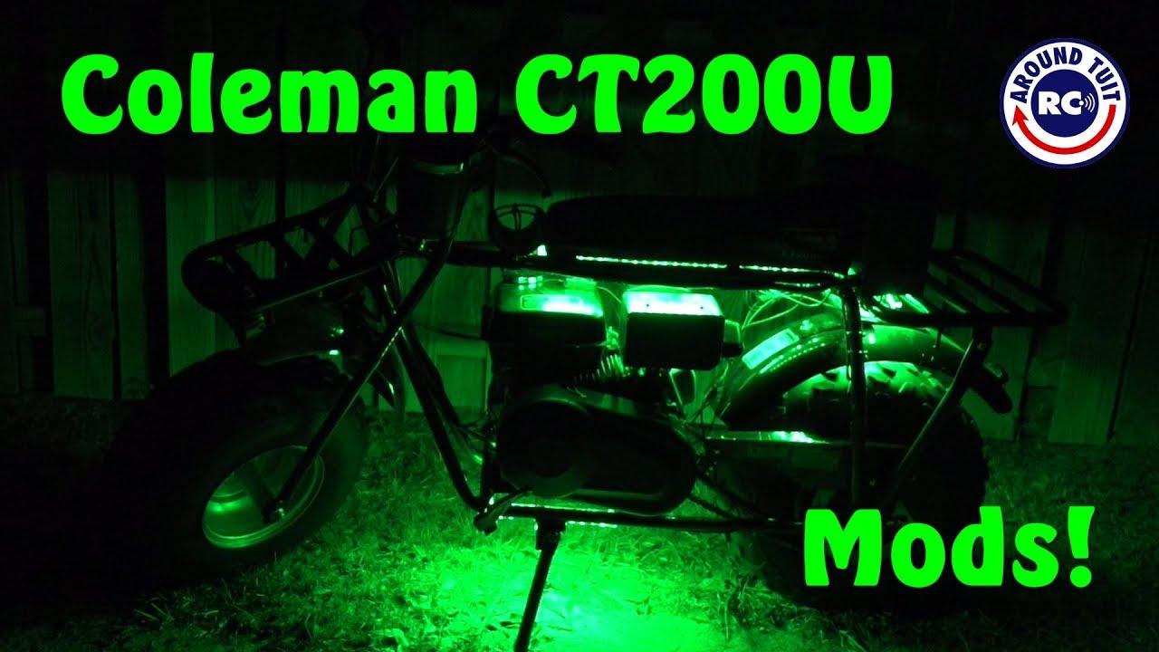 Coleman Ct200u Mini Bike Mods Headlight Tail Light Horn Led Light Strip Kit Cell Phone Mount Youtube